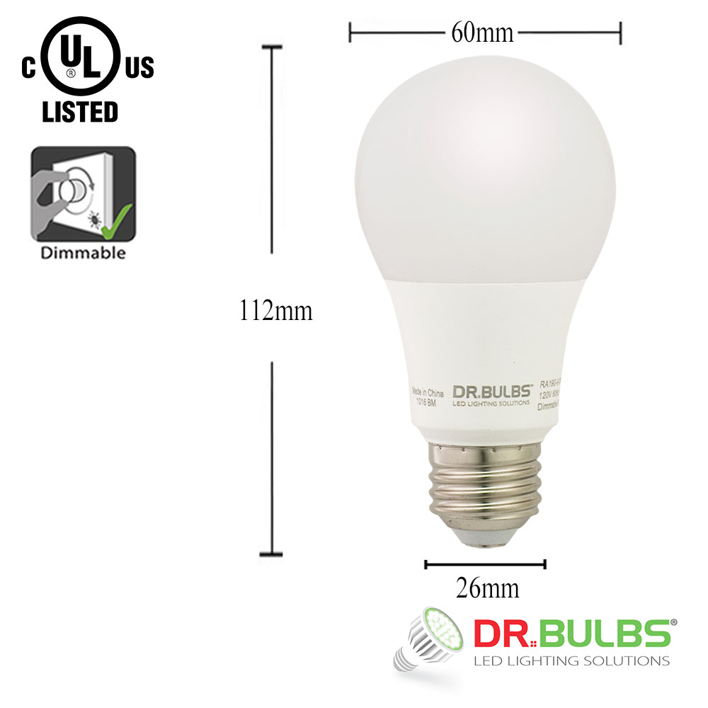 Dr.Bulbs A19 9W (Replace 60W incandescent) 4000K Cool White Dimmable LED Bulb  sc 1 st  LEDLightingDepot & Dr.Bulbs A19 9W (Replace 60W incandescent) 4000K Cool White Dimmable ...
